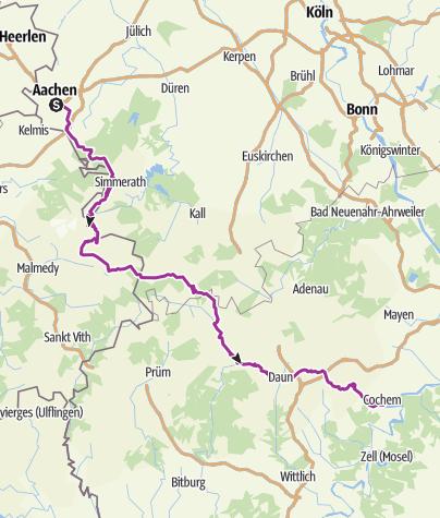Karte / Mit dem Rad von Aachen nach Cochem