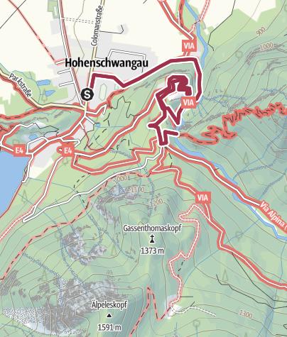 Karte / Schloss Neuschwanstein abseits der Touristenpfade erreichen