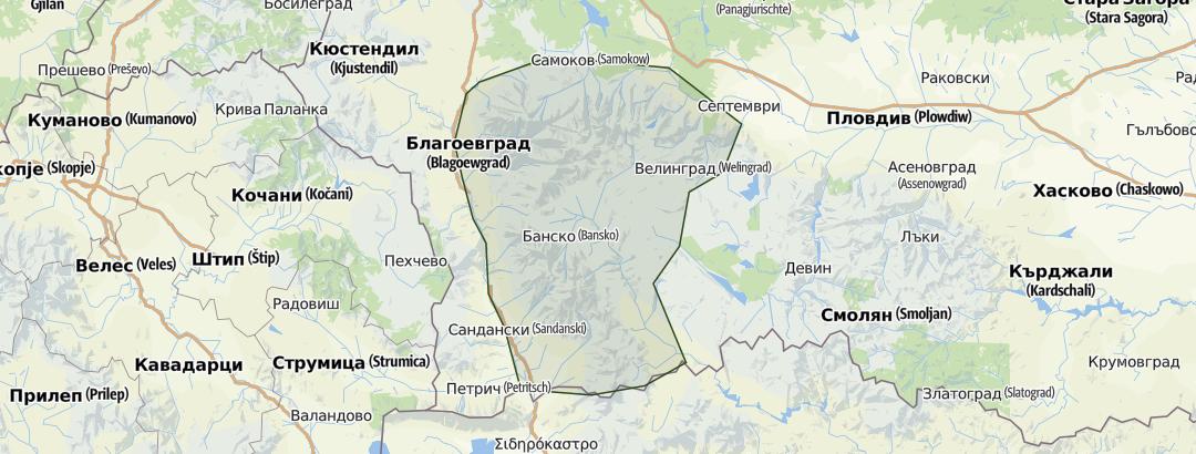 Karte / Bulgarien – Pirin- und Rila-Gebirge