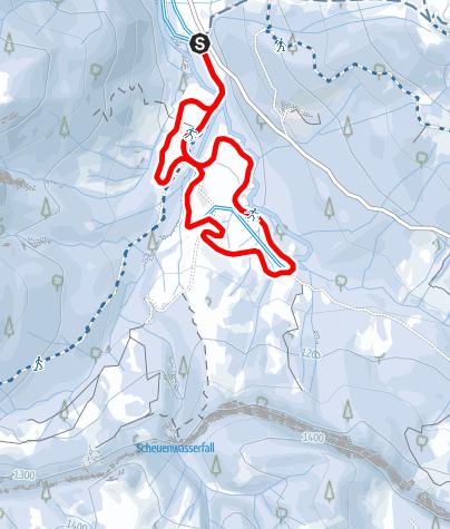 Karte / Vordere Scheuenloipe (mittel) - Langlaufen in Balderschwang