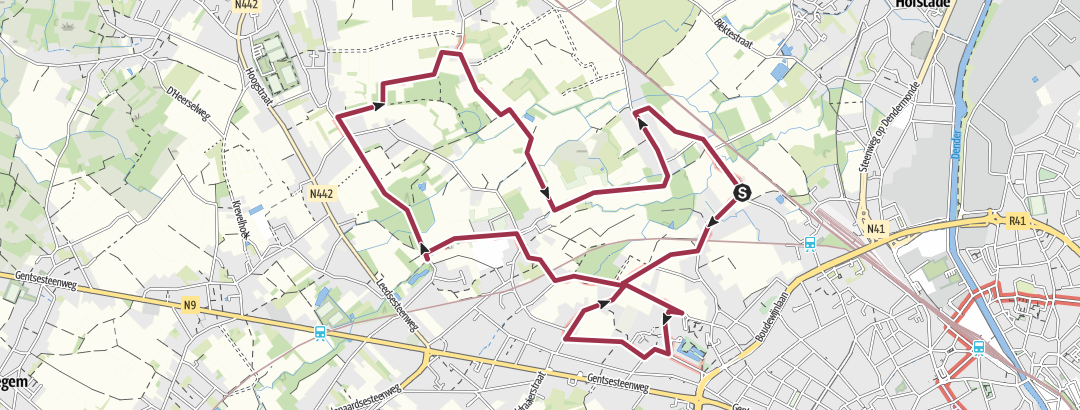 Hartă / Belgium, Aalst, Honegem, Nattevoetenpad