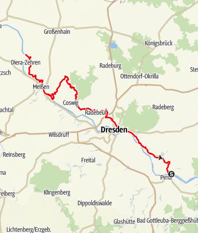 Karte / Sächsischer Weinwanderweg - An jedem Etappenziel ein guter Tropfen