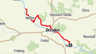 Karte der Tour Sächsischer Weinwanderweg - An jedem Etappenziel ein guter Tropfen