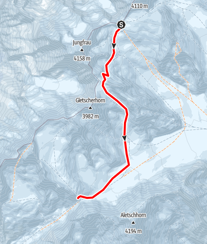 Karte / Hollandiahütte (3240 m) vom Jungfraujoch