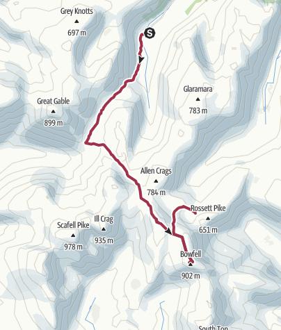 Map / Seathwaite to Angle Tarn