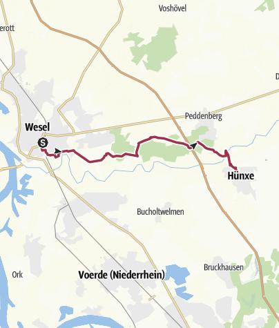 Karte / Römerroute von Wesel nach Hünxe