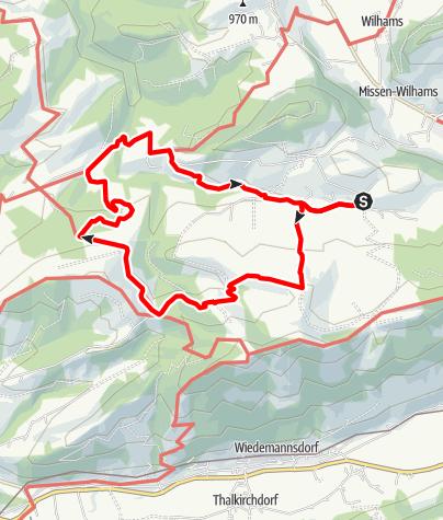 Karte / Wiederhofen-Trähers Alpe-Hirnbeinalpe-Schwandeck-Ochsenberg Alpe-Hofalpe-Geratsried-Wiederhofen