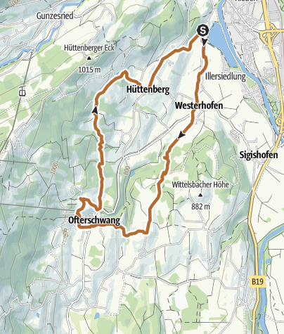 """Map / Nordic Walking trail """"Forests and Meadows"""" at Ofterschwang"""