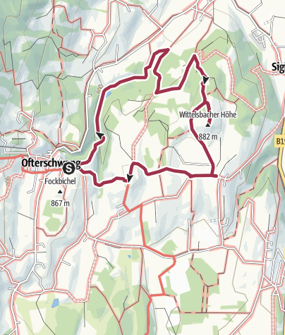 Map / Wittelsbacher hiking trail from Ofterschwang via Schweineberg
