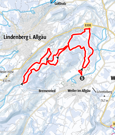 Karte / Weiler-Simmerberg R24 Manklitzer-Loipe