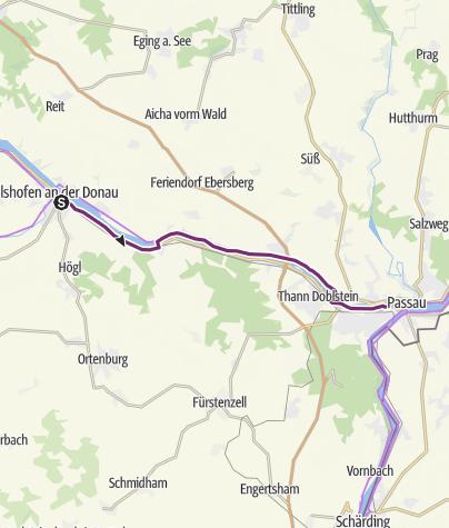 Karte / Donauradweg nach Passau