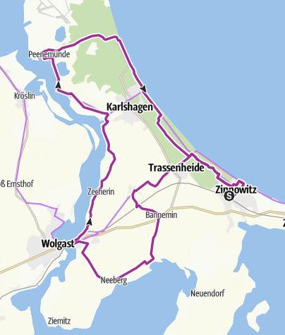 Mapa / Große Tour auf Usedom nach Peenemünde