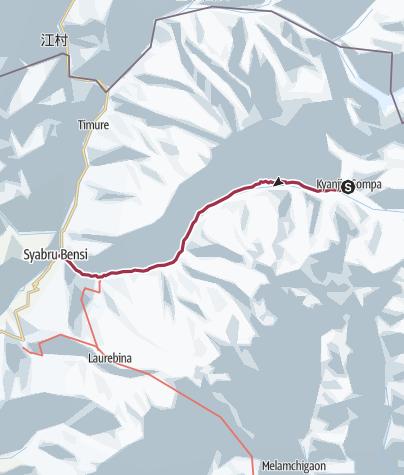 Map / Trek Langtang 6ème jour, retour
