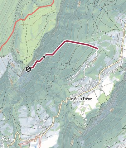 Map / montée vers la grotte du chevalier
