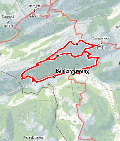 Karte / Große Höhen- oder Gratwanderung von Balderschwang über den Stillberg