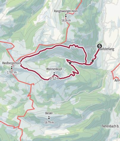 Map / Wannenkopftour - Alpwanderung ab Bolsterlang durchs Bolgental zum Wannenkopf