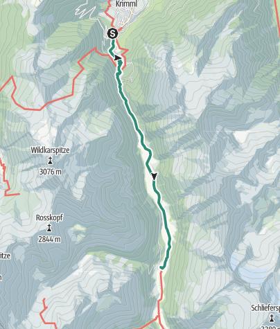 Karte / In den Hohen Tauern auf dem Krimmler Wasserfallweg zum Tauernhaus