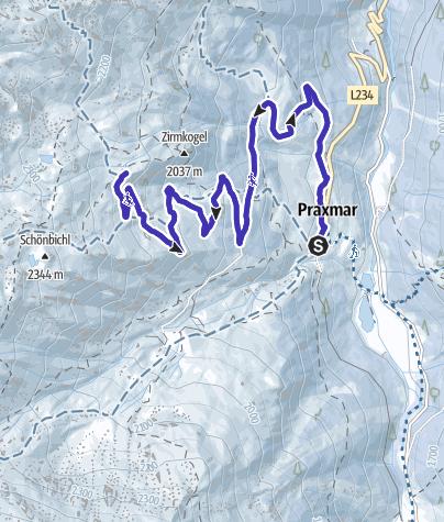 Karte / Mit dem Rodel von Praxmar zur Koglalm