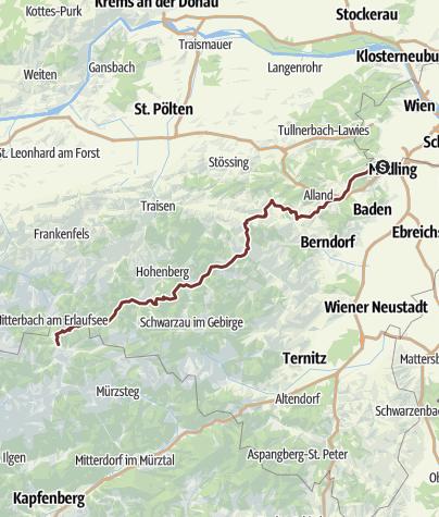 Karte / Wiener Wallfahrerweg: Gesamtverlauf von Perchtoldsdorf nach Mariazell
