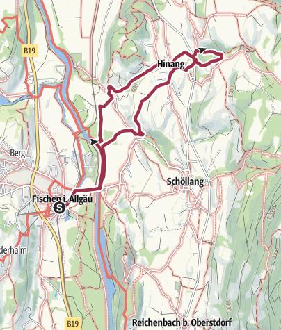 Karte / Hinanger Wasserfälle - Wanderung ab Fischen