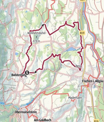 Karte / Golfplatztour - Rundwanderweg durch die Hörnerdörfer