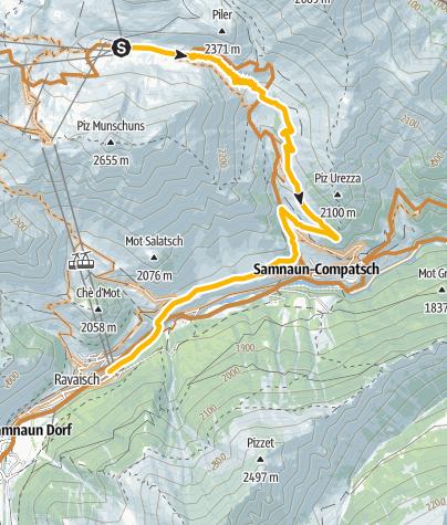 Map / Freeride-Trail Alp Trida – Laret – Samnaun-Ravaisch