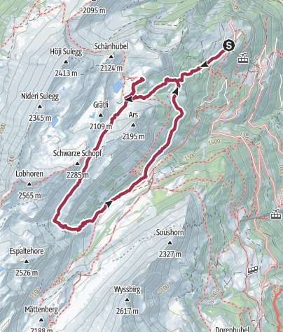 Karte / Sulwald – Lobhornhütte – Sausegg – Sausläger – Sulwald