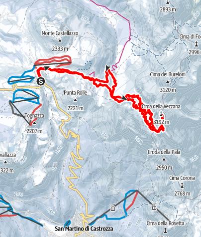 Karte / Cima Vezzana (3.192 m) über Travignolo-Rinne