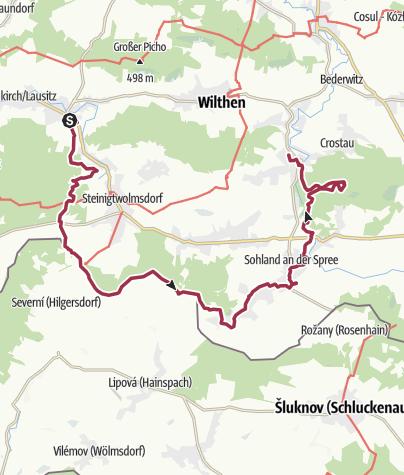 Karte / Wanderung von Neukirch über Steinigtwolmsdorf und Sohland zu den Kälbersteinen