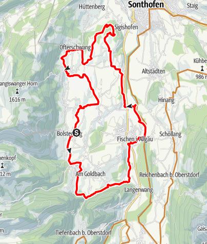 Karte / Dörfer-Runde - Radfahren durch die Hörnerdörfer