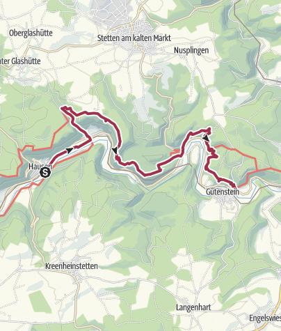 Karte / Donau-Zollernalb-Weg 2. Etappe: Von Hausen im Tal nach Gutenstein