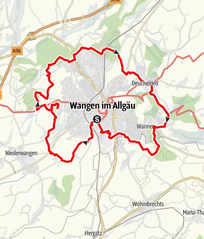 """Karte / Wanderrundweg 1: """"Rund um Wangen"""""""