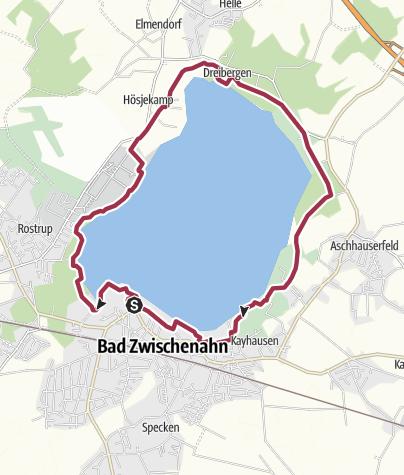 Karte / Wanderung von Bad Zwischenahn um das Zwischenahner Meer