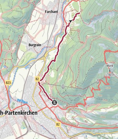 Karte / Den Philosophenweg von Partenkirchen nach Farchant