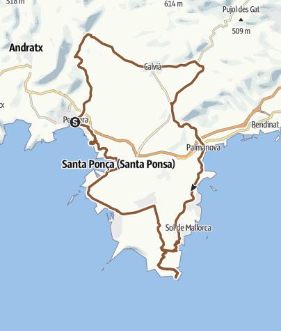Map / Bike ride from Peguera via Calvià to Cap de Cala Figuera