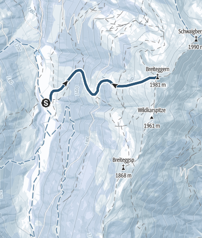 Karte / Skitour aus der Wildschönau auf den Breiteggern