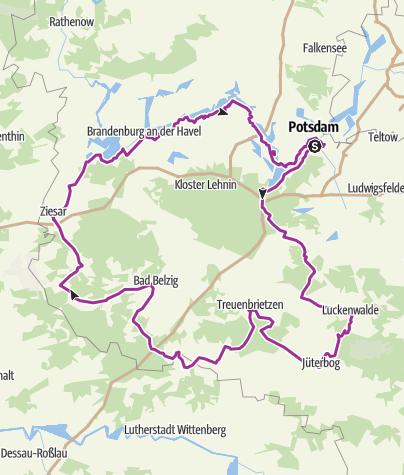 Historische Karte Potsdam.Radrouten Historische Stadtkerne Route 4 Radtour
