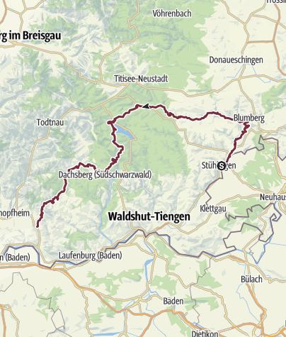 Karte / Von Stühlingen nach Wehr – Der Schluchtensteig