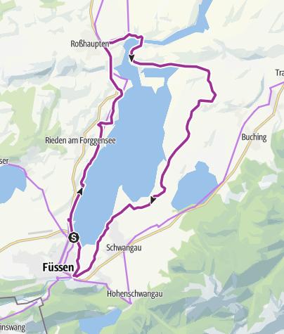 Karte / Radrunde von Füssen um den Forggensee