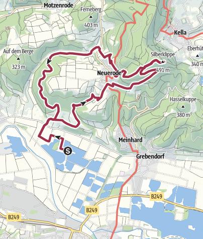 Karte / Vom Freizeitzentrum in Meinhard zu drei Aussichtspunkten - Meinhard Eschwege