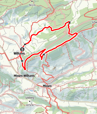 Karte / Wilhams-Schrofenweg-Räuberhöhle-Hauchenberg-Jägersteig-Wilhams
