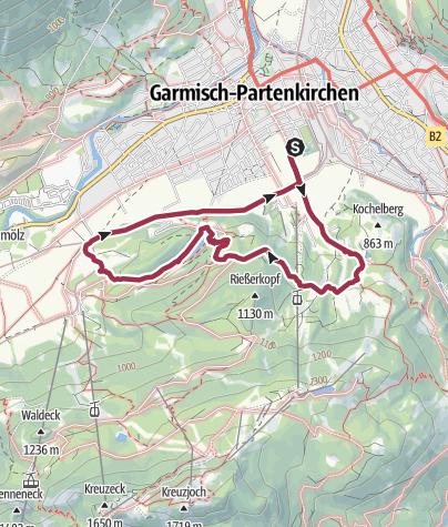 Karte / Von der Kochelbergalm über den Riessersee zur Aule-Alm