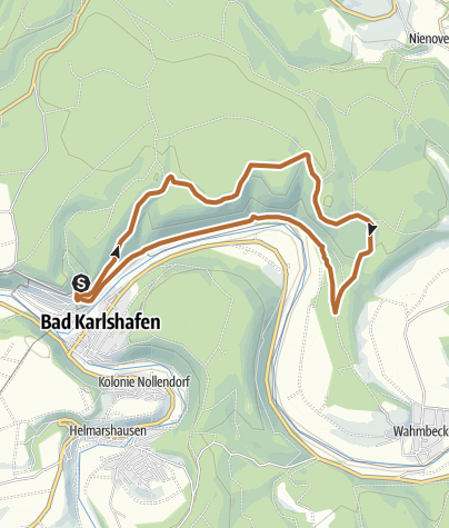 Karte / Bad Karlshafen -  Nordic Walking um die Barockstadt (Tafel 1, Strecke 3)