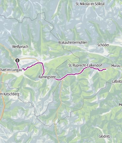 Karte / Fahrradtour von  Mauterndorf nach Kaindorf Murtal