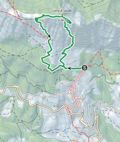 Map / Über die Via Ferrata Nasego auf den Corna di Savallo