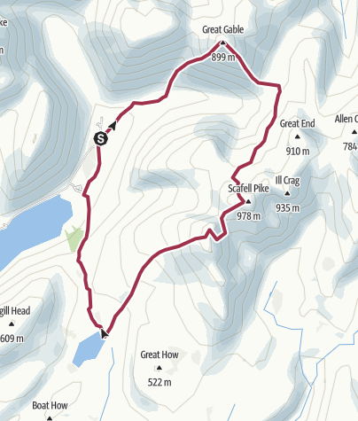 Map / Great Gable, Scarfell Pike and Sca Fell