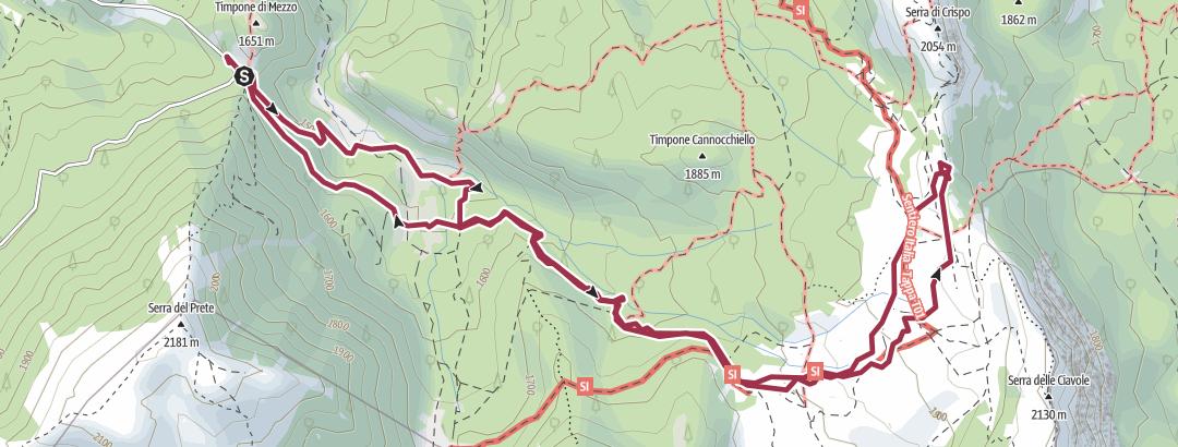 Mapa / Giardino degli Dei, da colle dell'impiso, Pollino