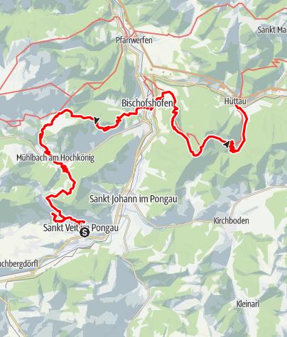 Karte / Geotrail: Erzweg Kupfer: St. Veit im Pongau - Mühlbach - Bischofshofen - Hüttau