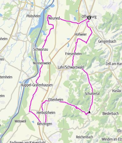 Karte / Offenburg RR Tour 1 - Durch die Rheinebene und zurück durch Lahr