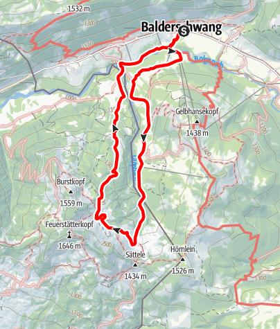 Karte / Wanderung zur Burgl-Hütte ab Balderschwang